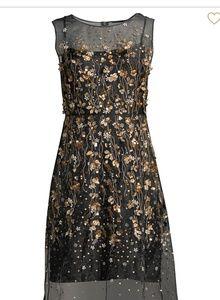 Eli Tahari NWT Silk Organza Embroidery Party Dress